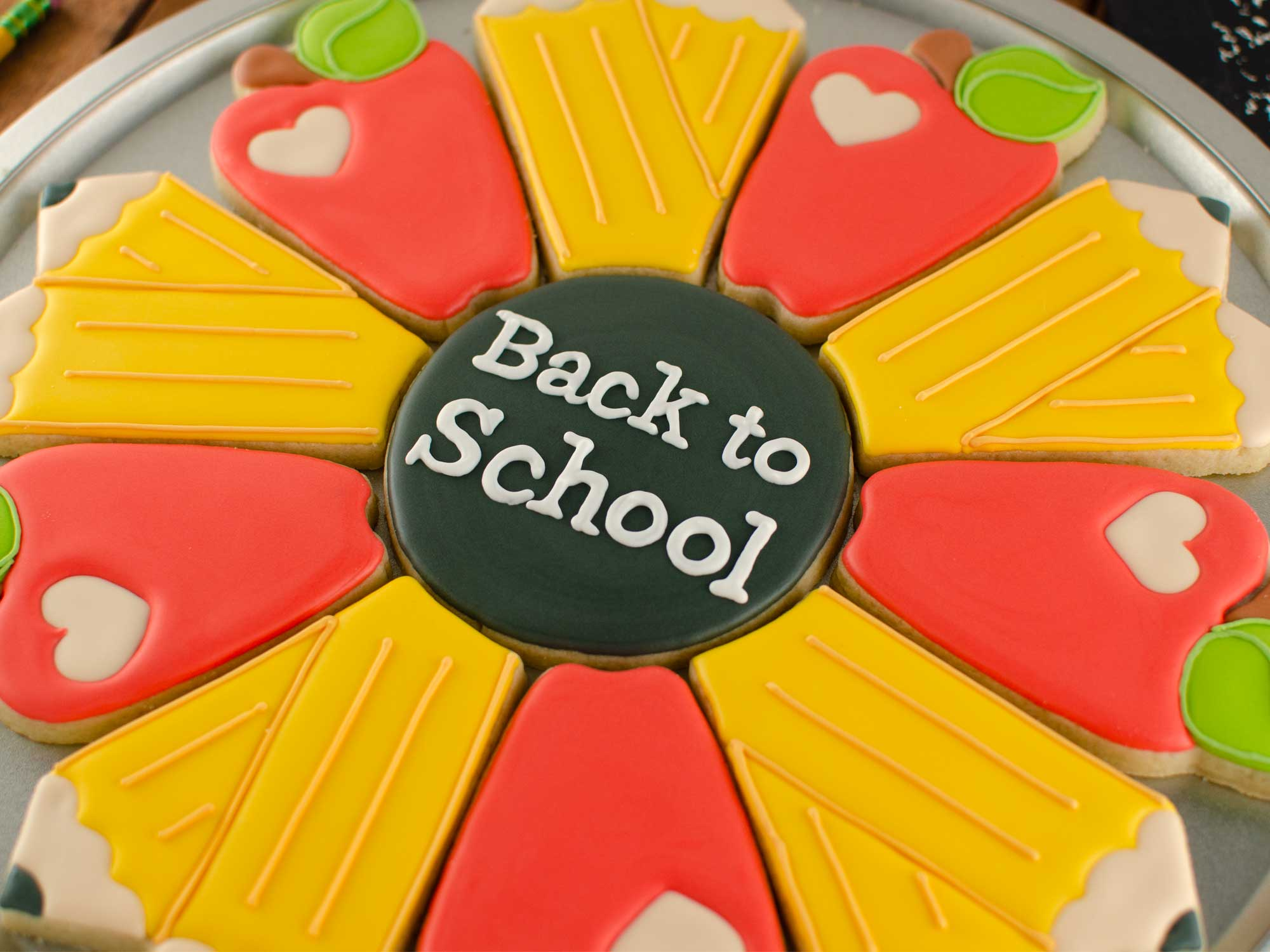 apple pencil cookie platter with back-to-school message
