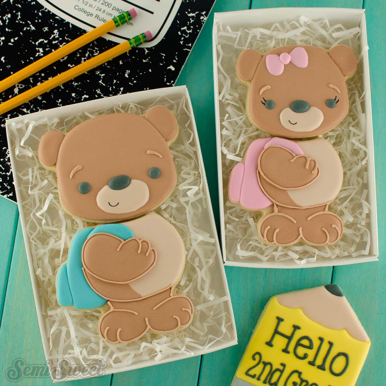 teddy bear backpack cookies | Semi Sweet Design