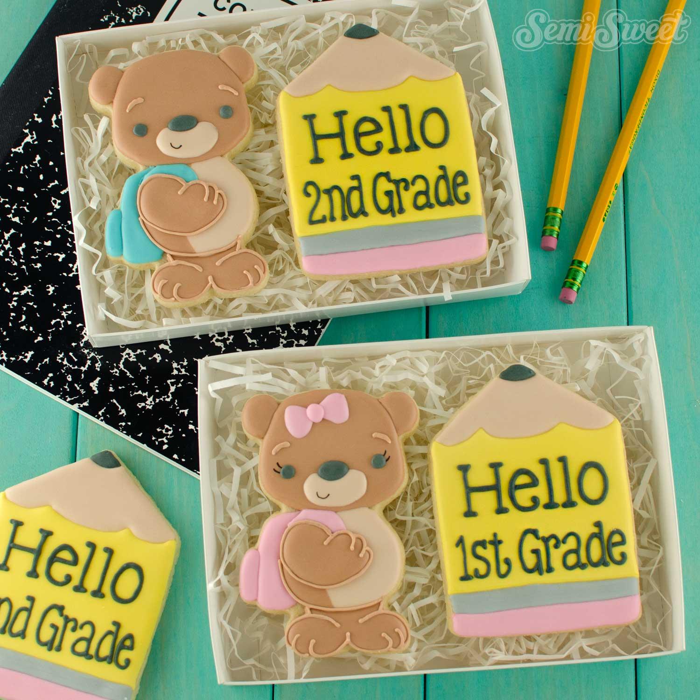 teddy bear back to school cookie sets | Semi Sweet Designs
