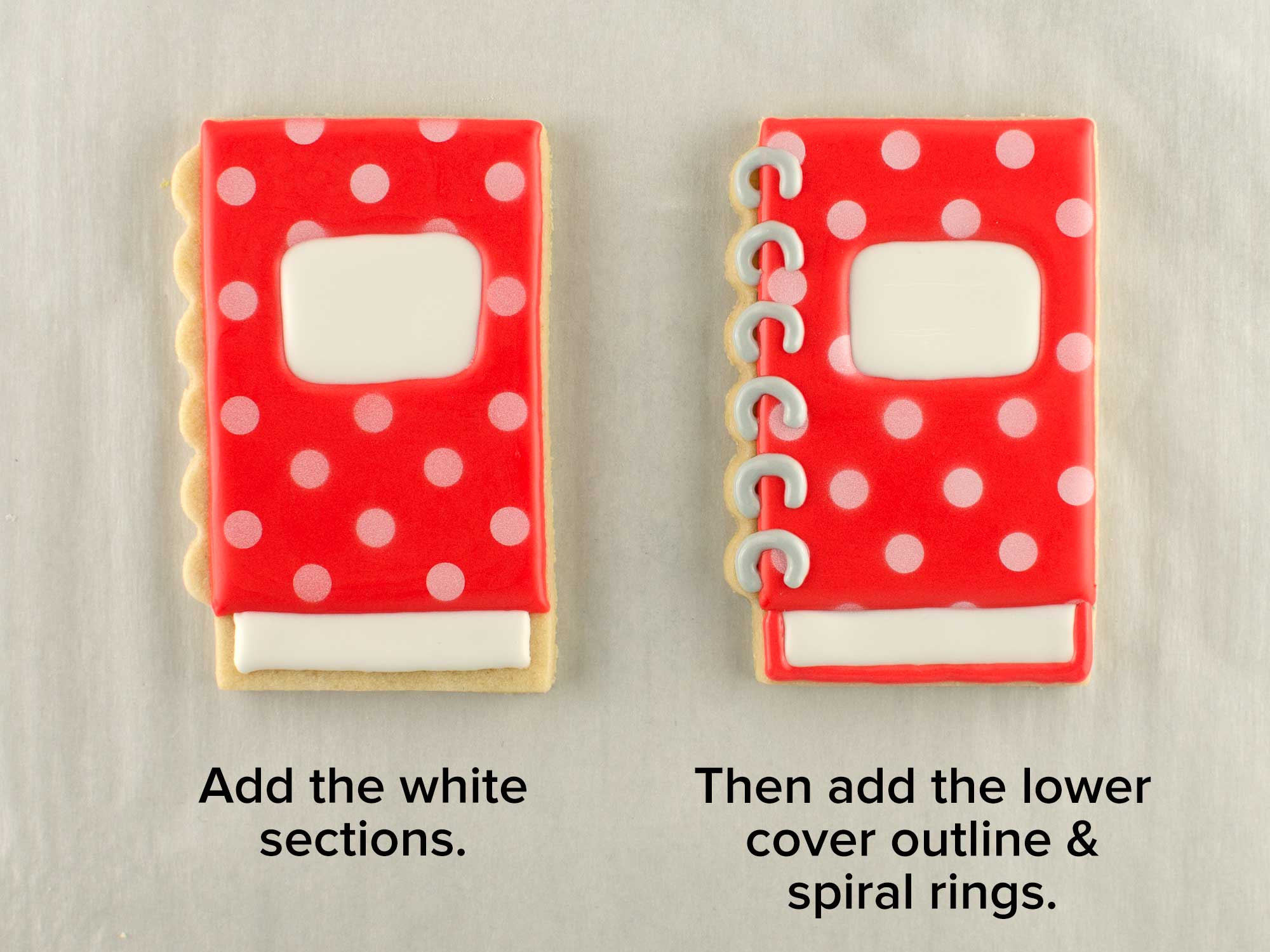 spiral notebook cookies step 2