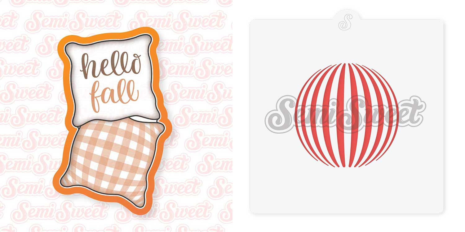 pillow cookie cutter with striped sphere stencil