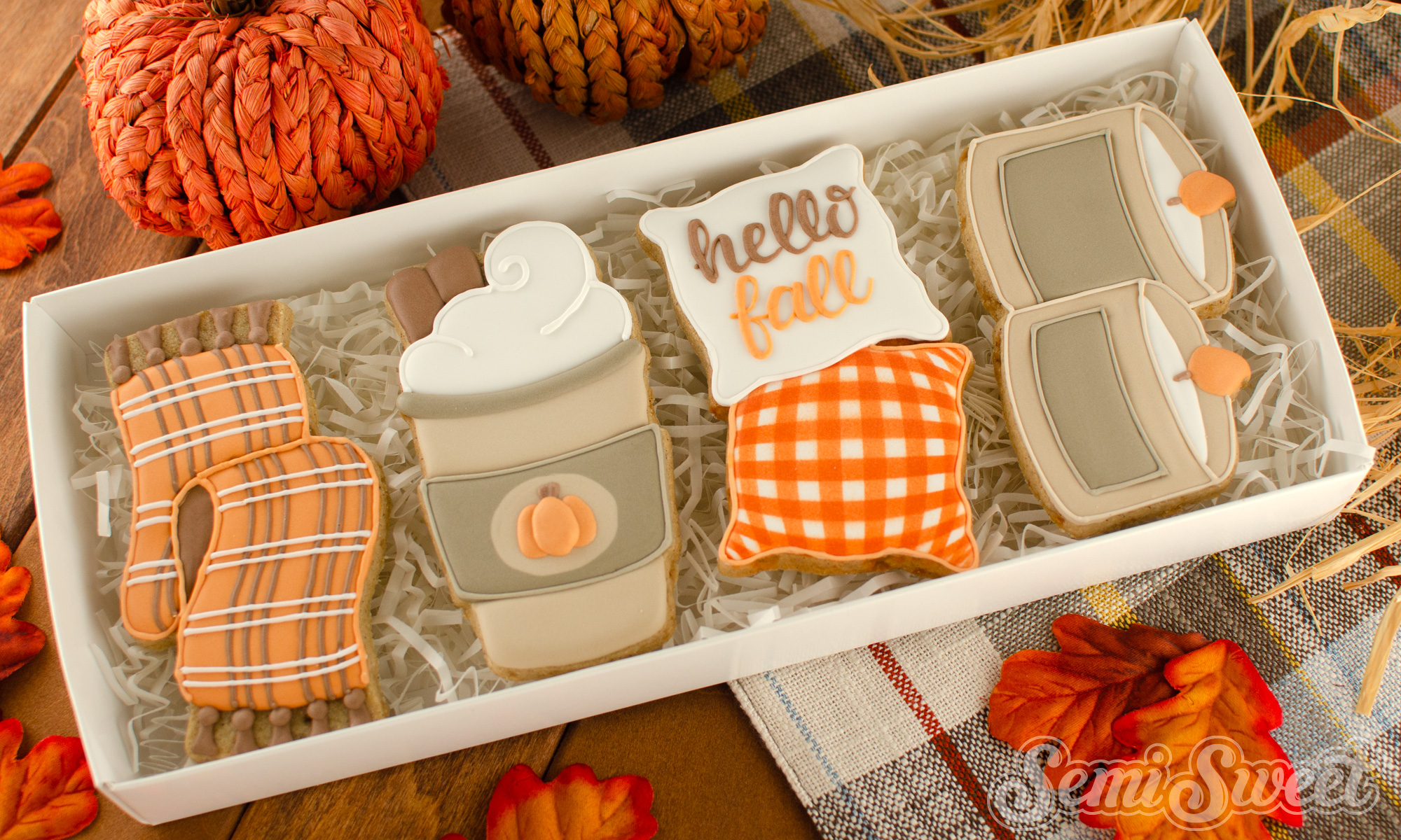 cozy fall cookie set in a box | Semi Sweet Designs