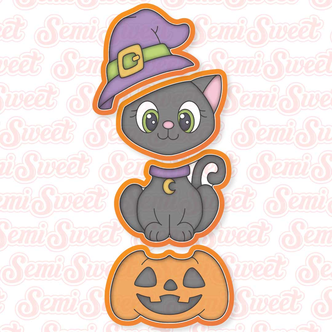 stackable cat witch cookie cutter set   Semi Sweet Designs