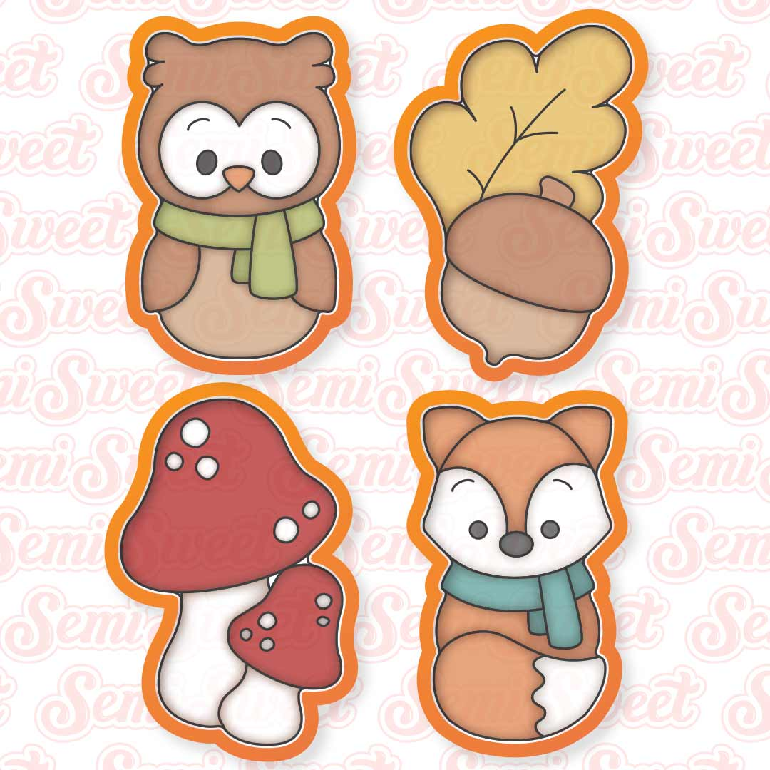autumn woodland cookie cutter set | Semi Sweet Designs