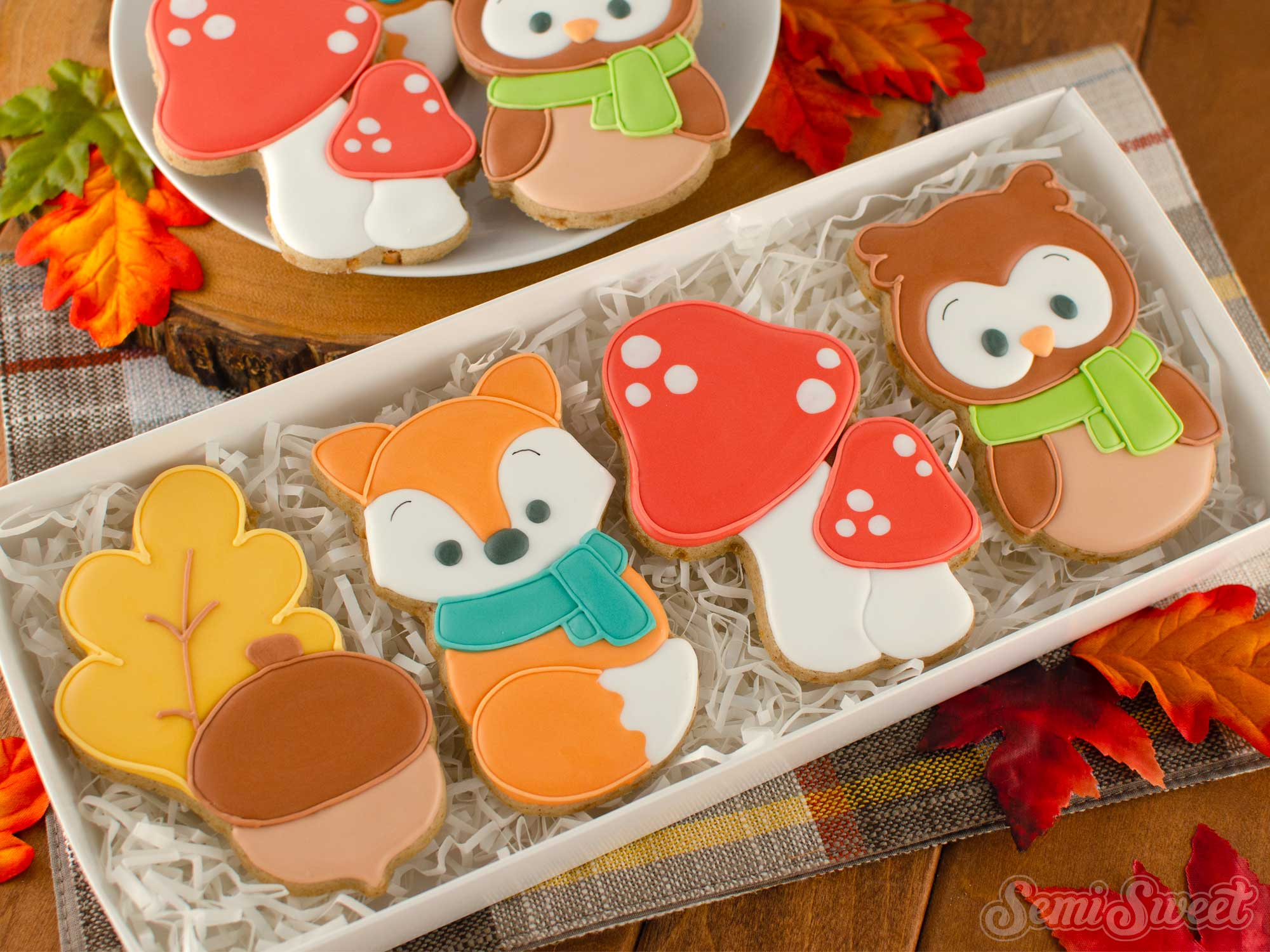 autumn woodland cookies in a box | Semi Sweet Designs