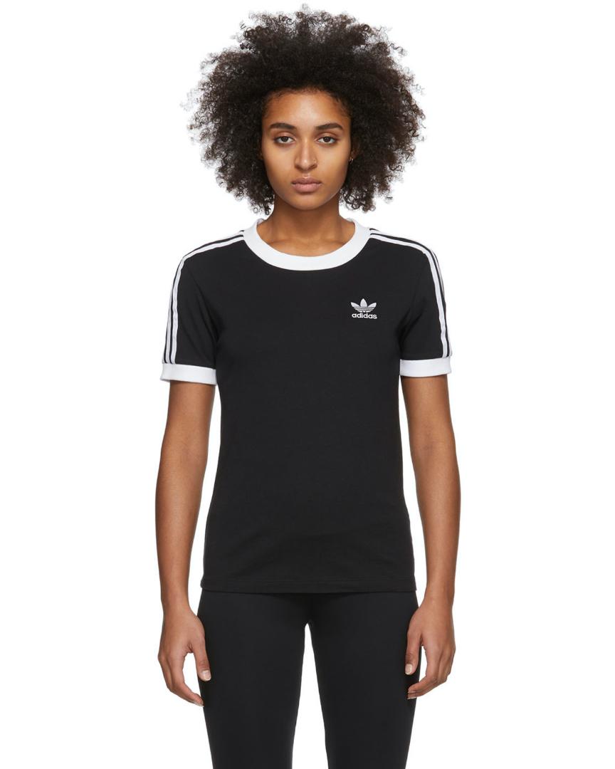 T-shirt noir à 3 bandes