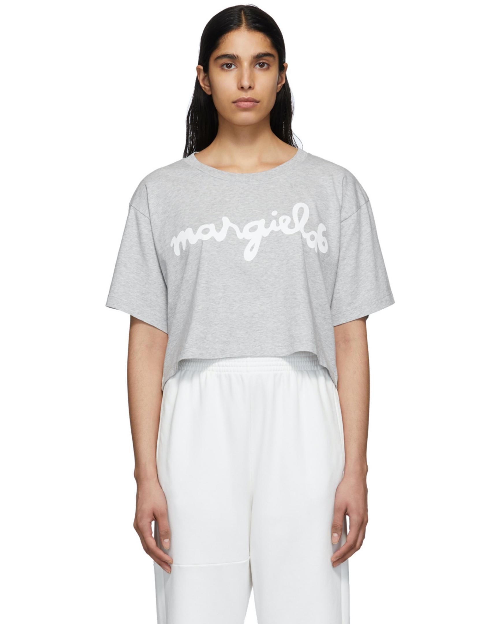 T-shirt crop-top à logo gris