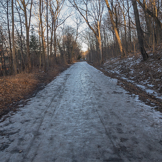 Running trail covered in ice during the winter