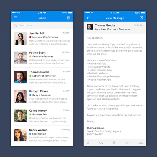 Project preview of Mobile mail app