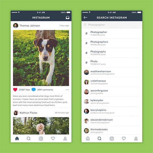 Project preview of Instagram redesign