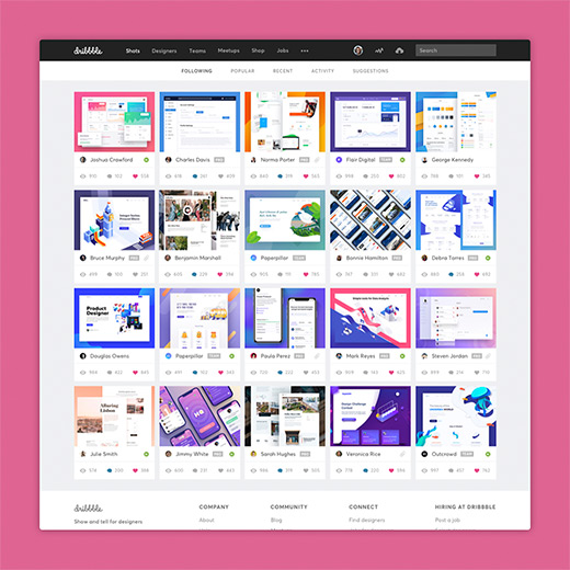 Project preview of Dribbble redesign