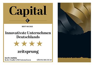 Zeitsprung doppelt auszeichnet mir dem Capital und German Innovation Award 2021
