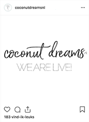 CLAIREWOUTERS.COM Coconut Dreams Instagram post we are live