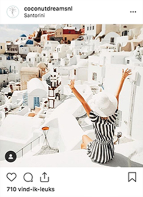 CLAIREWOUTERS.COM Coconut Dreams Instagram post Santorini