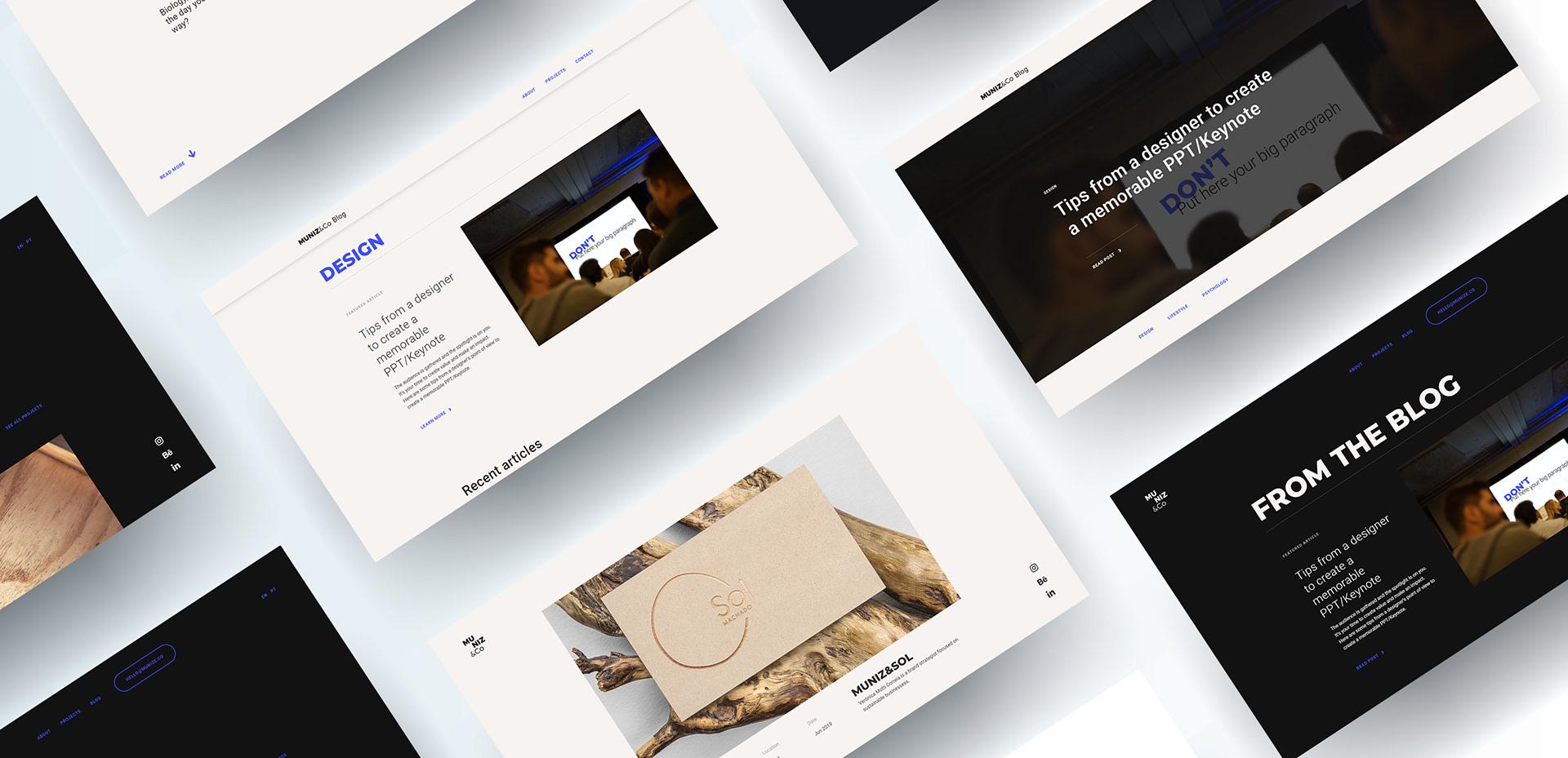 Muniz&Co's website mockups