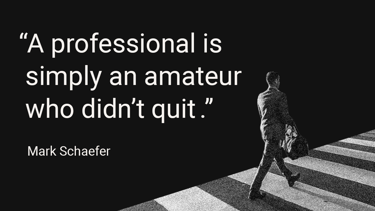 """""""A professional is simply an amateur who didn't quit""""   Quote Mark Schaefer"""