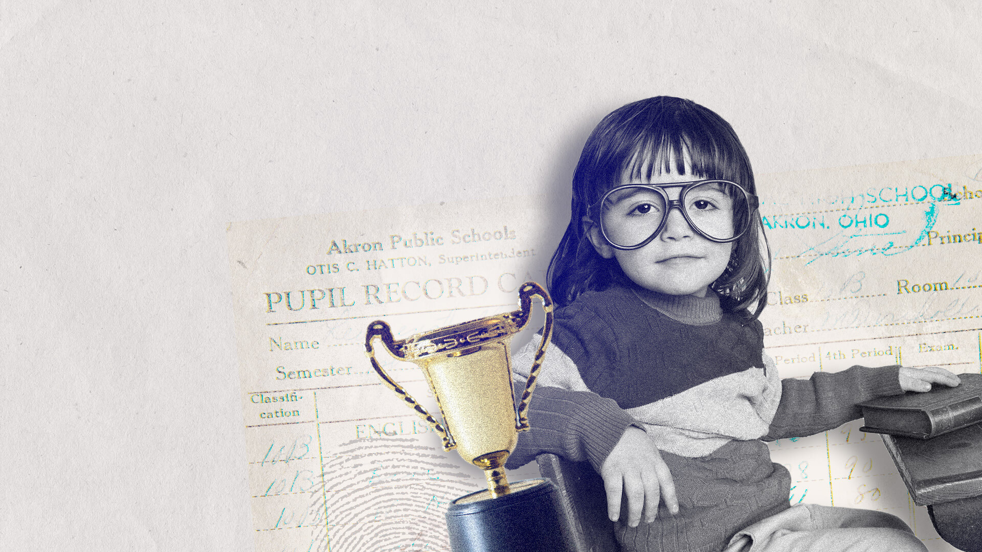 Collage of a child with a trophy and good grades