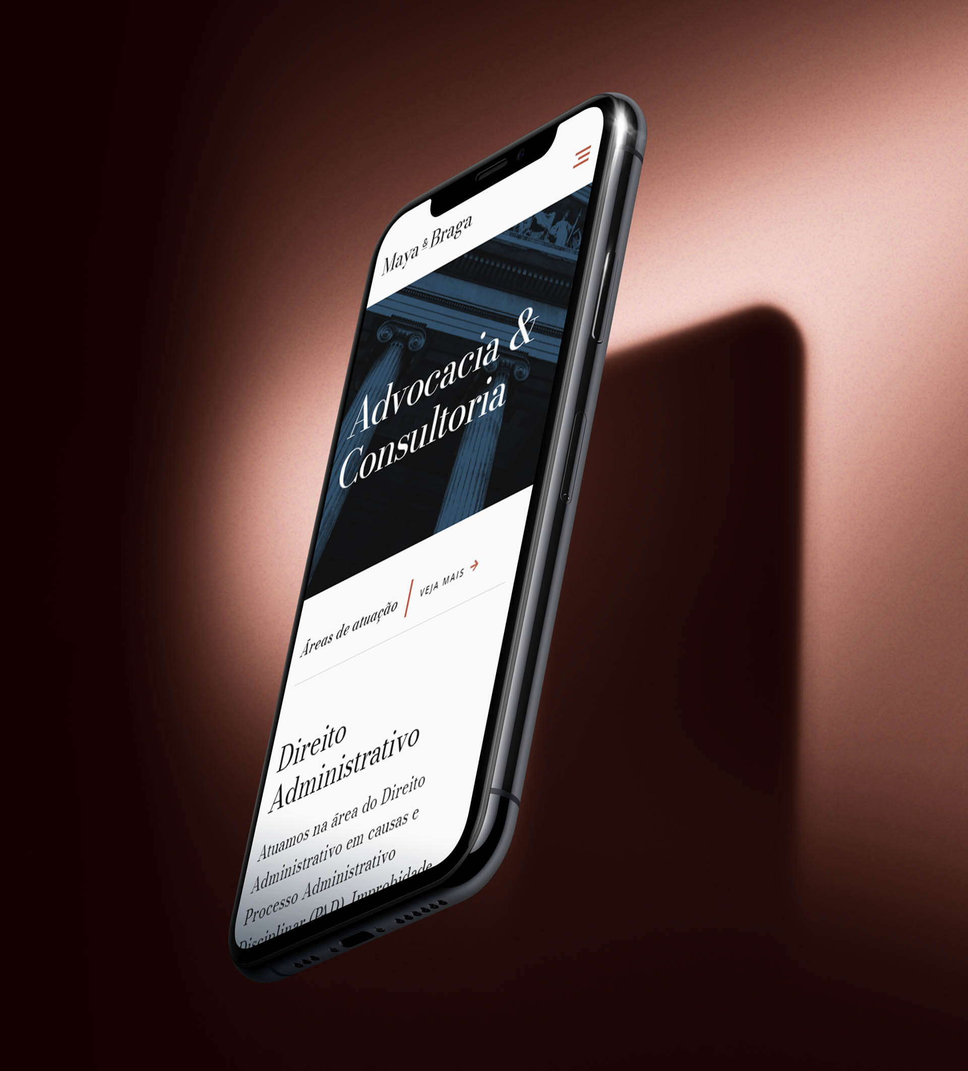 Maya e Braga's homepage on mobile