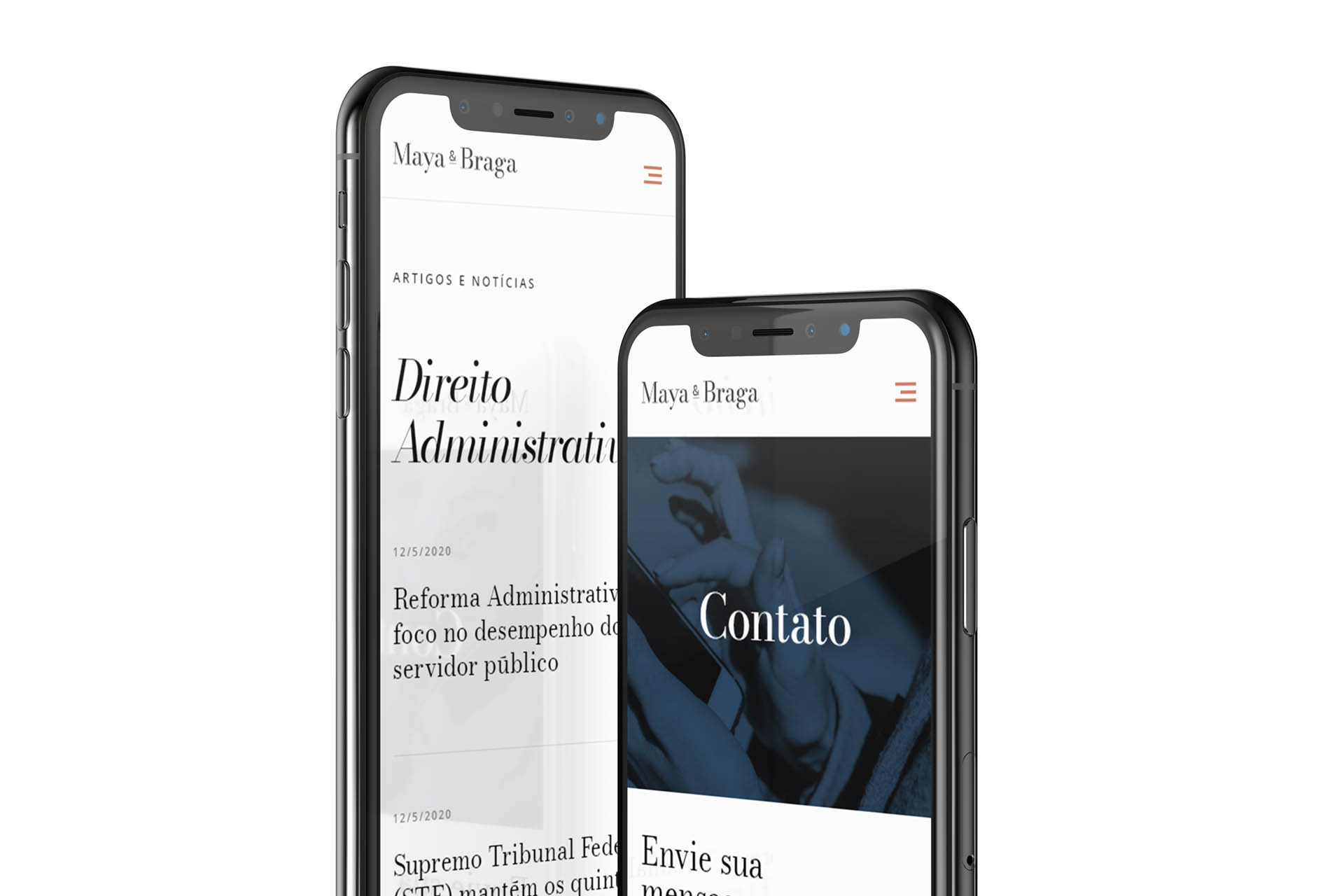 Maya e Braga's website pages displayed on iphone
