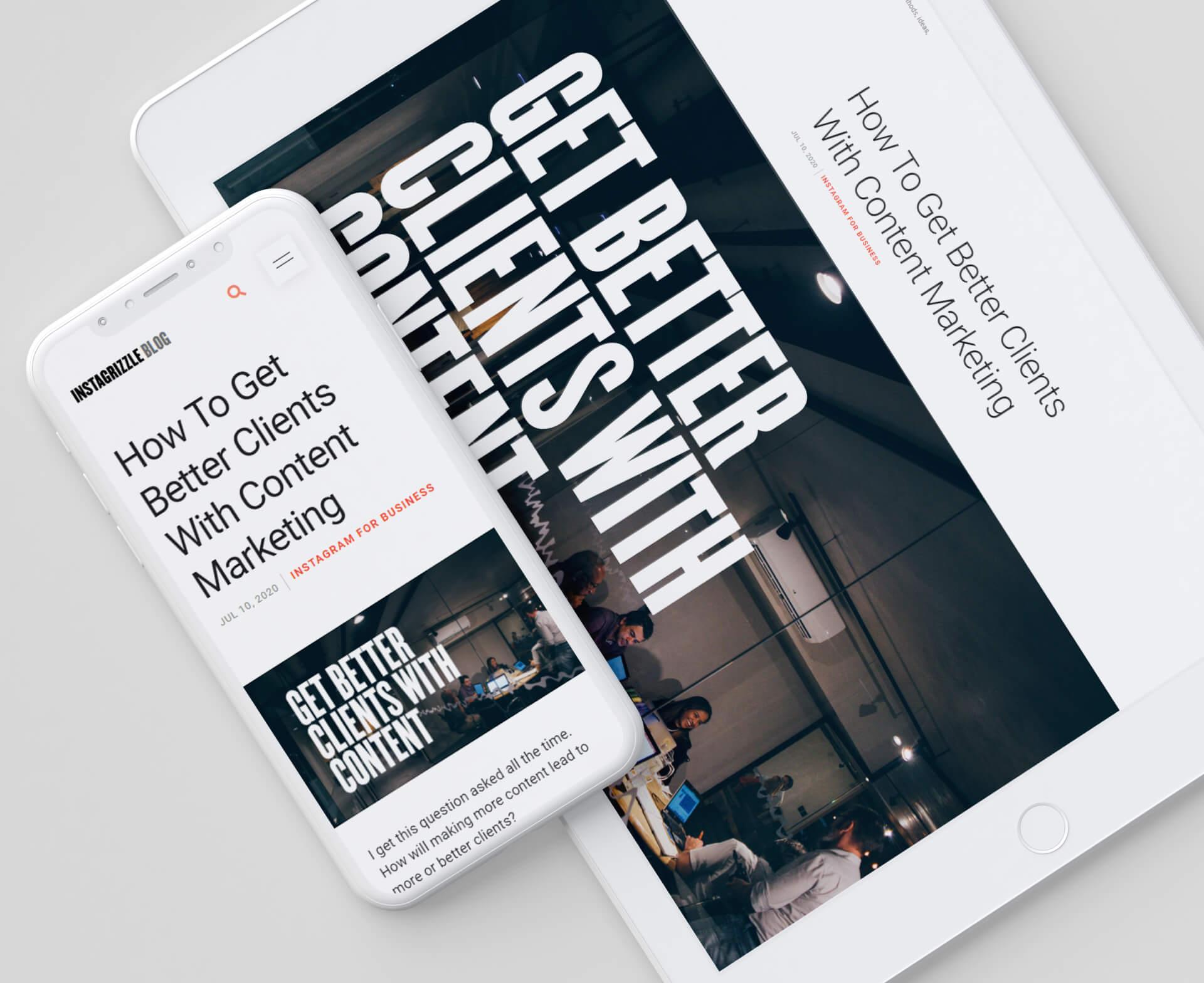 david's blog displayed inside white ipad and iphone