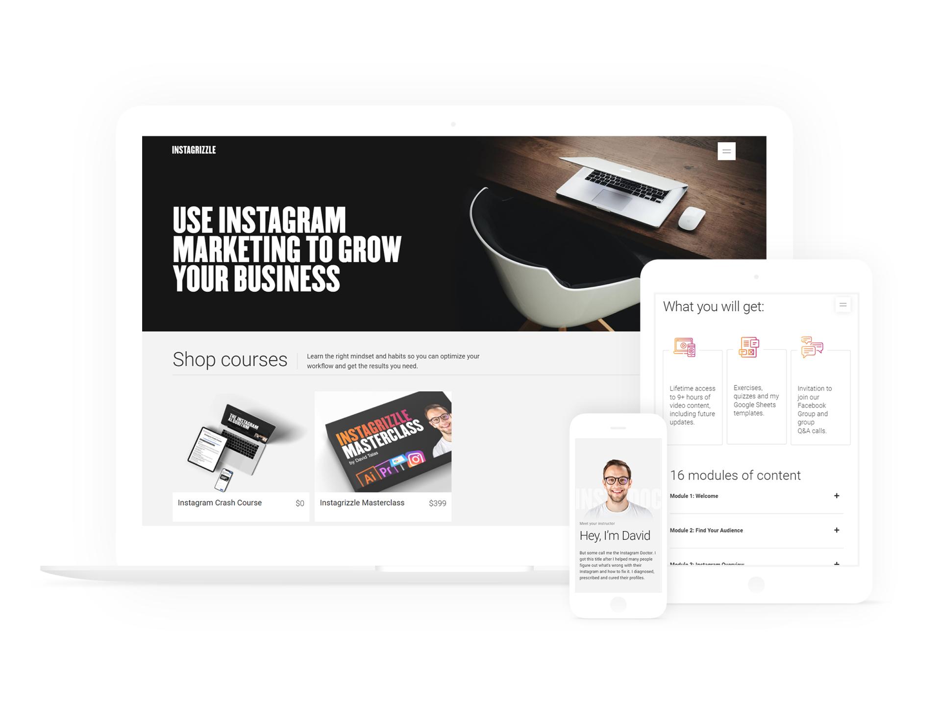 david's website inside white macbook, ipad and iphone