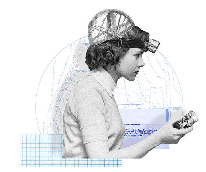 collage of a woman with gears in her head