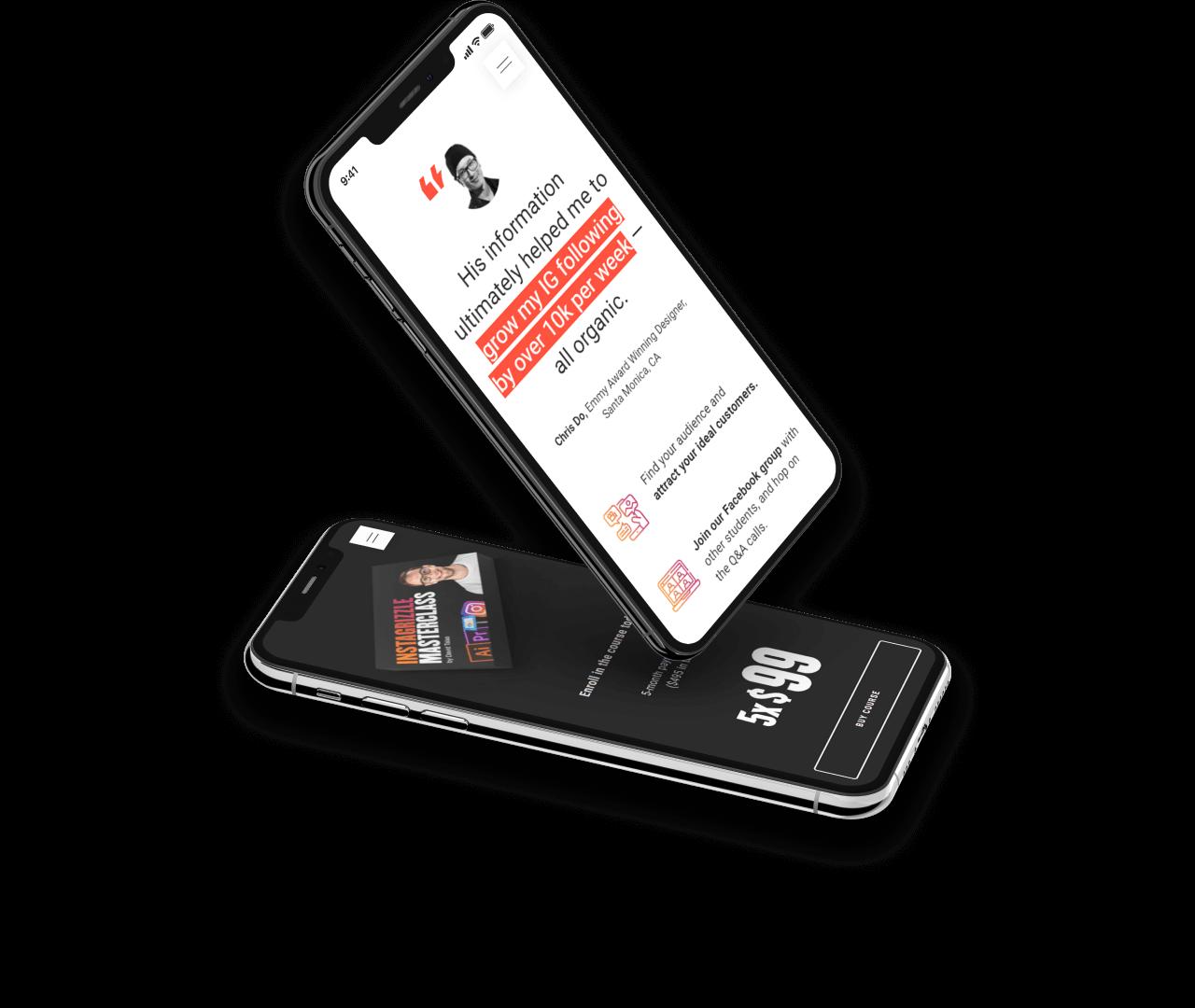 2 iphones displaying dave's website