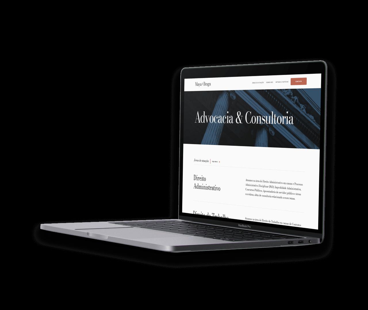 macbook displaying maya e braga's website