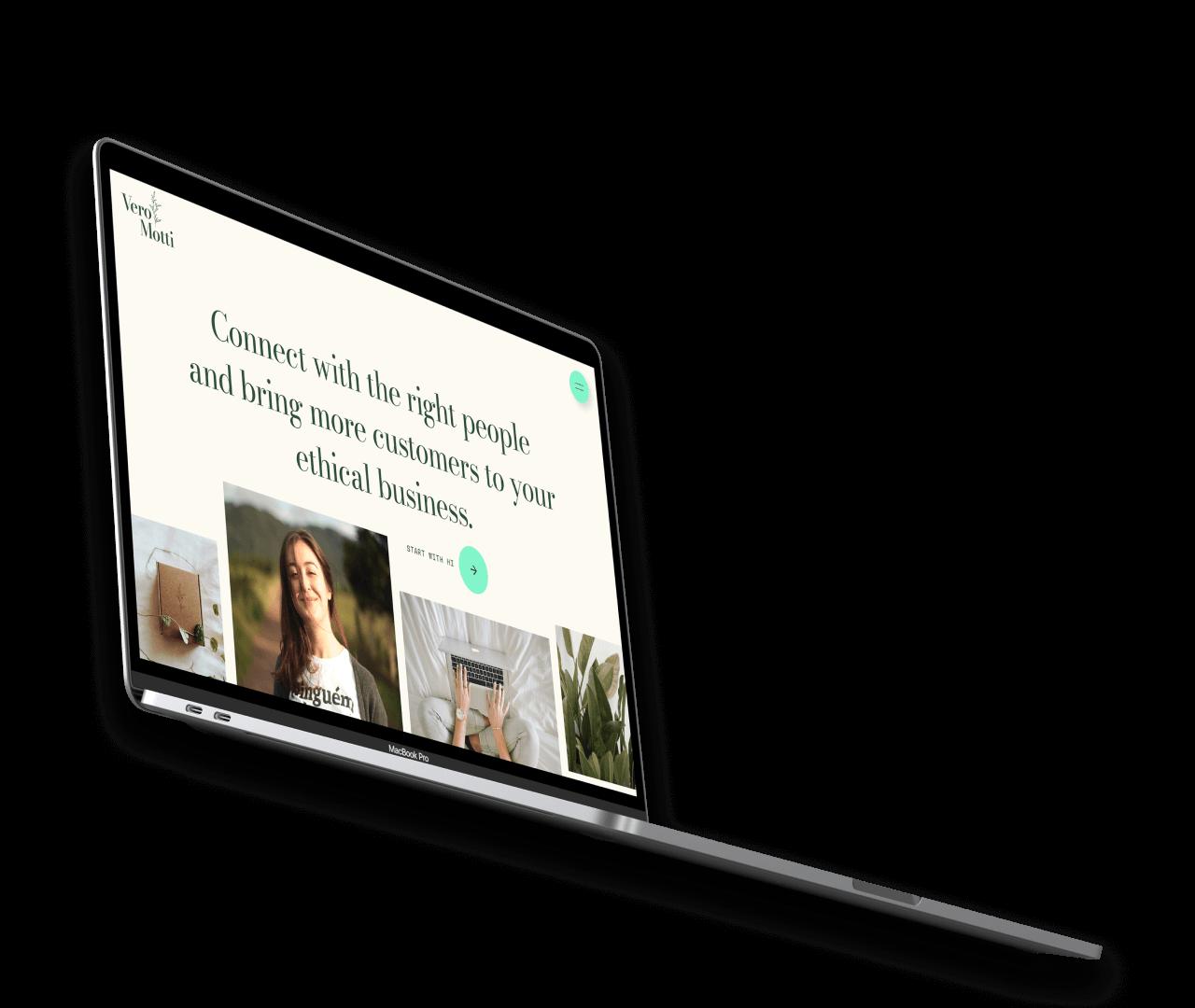 macbook displaying vero's website