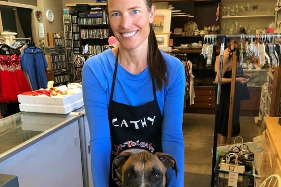 Boxer Luv Rescue - thrift shop volunteer