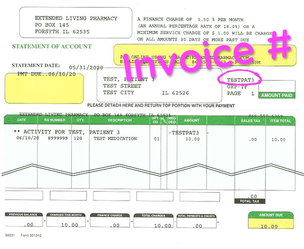 Find your invoice number at top right