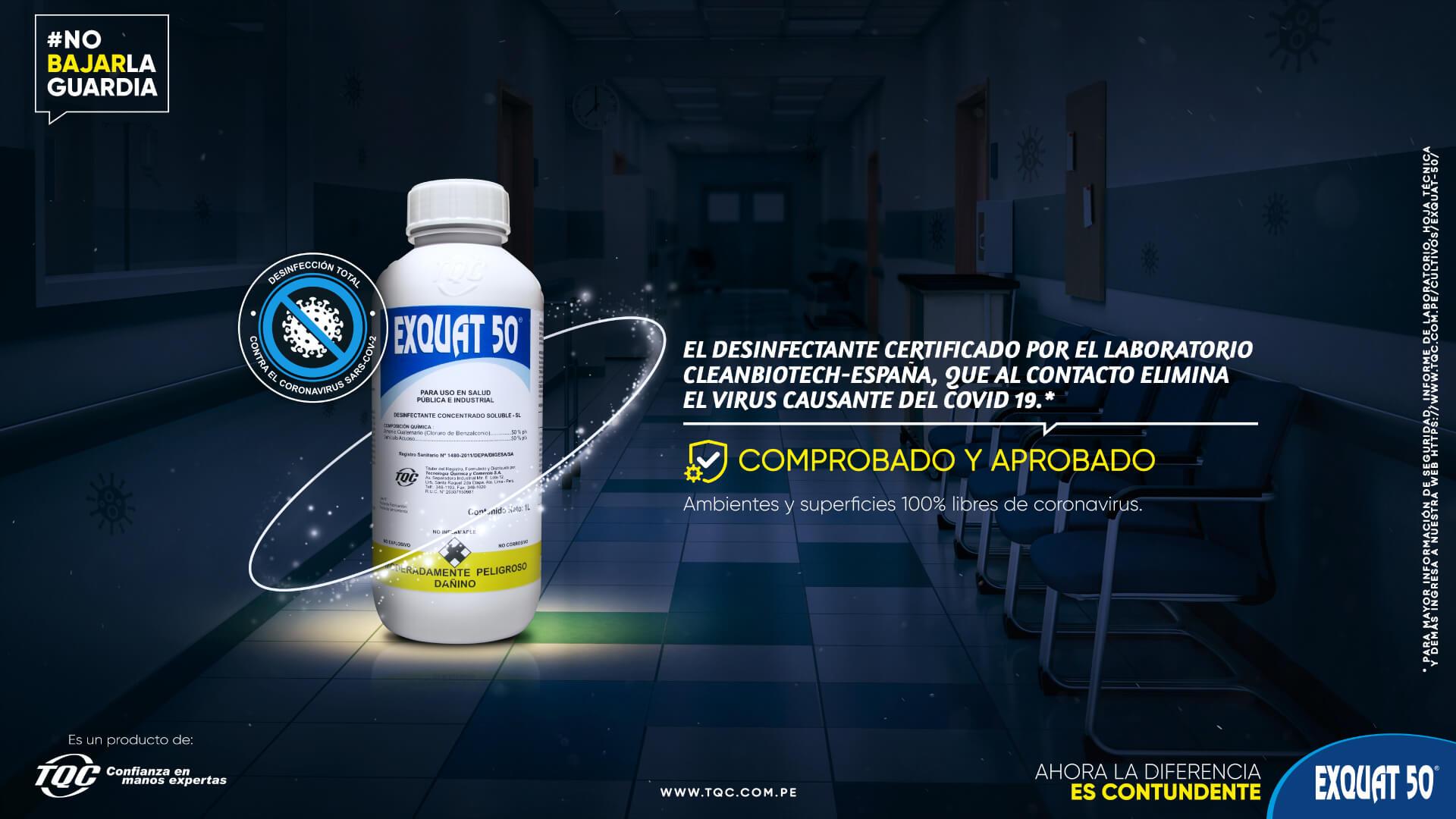 TFM desinfecta con Exquat50 (amonio cuaternario)