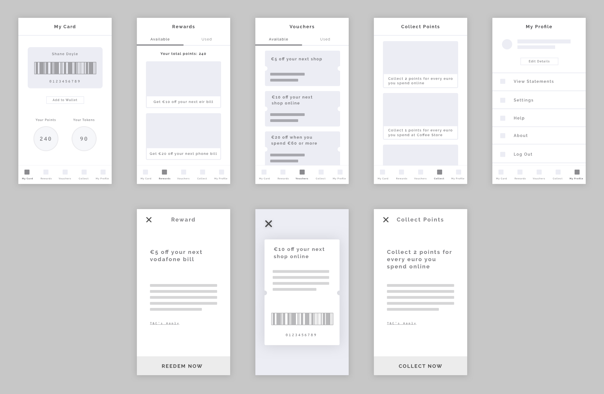 Low-fidelity wireframes of the RealRewards app.
