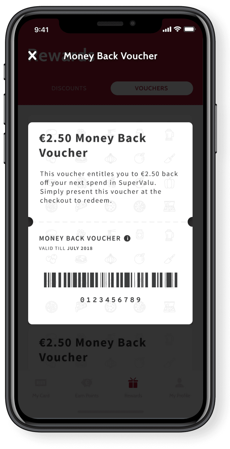 The voucher screen in the RealRewards app.