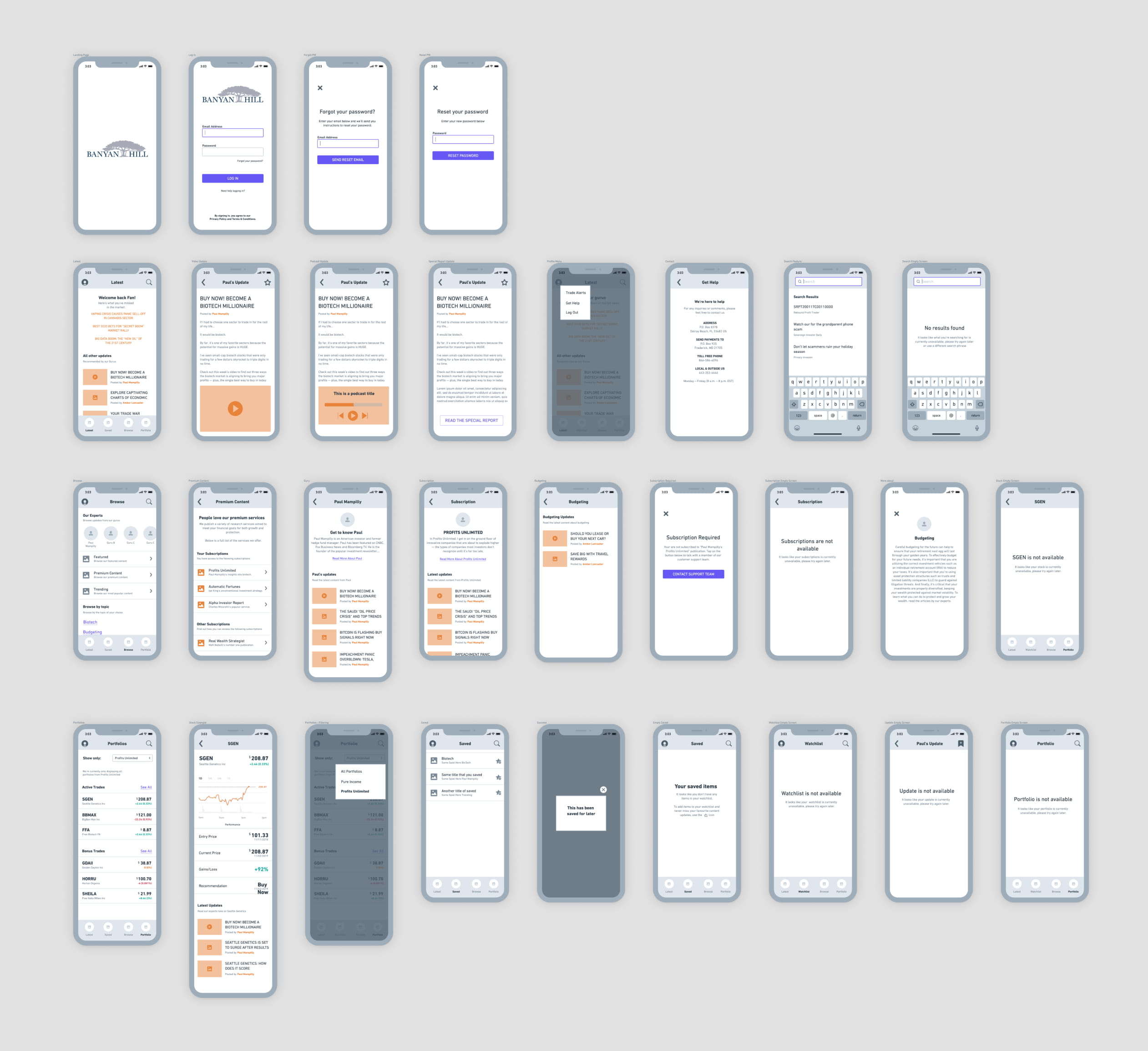 LoFi wireframes of the Banyan Hill app.