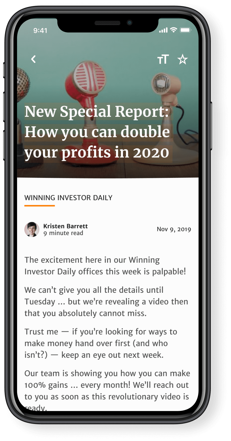 The special report screen in the Banyan Hill app.