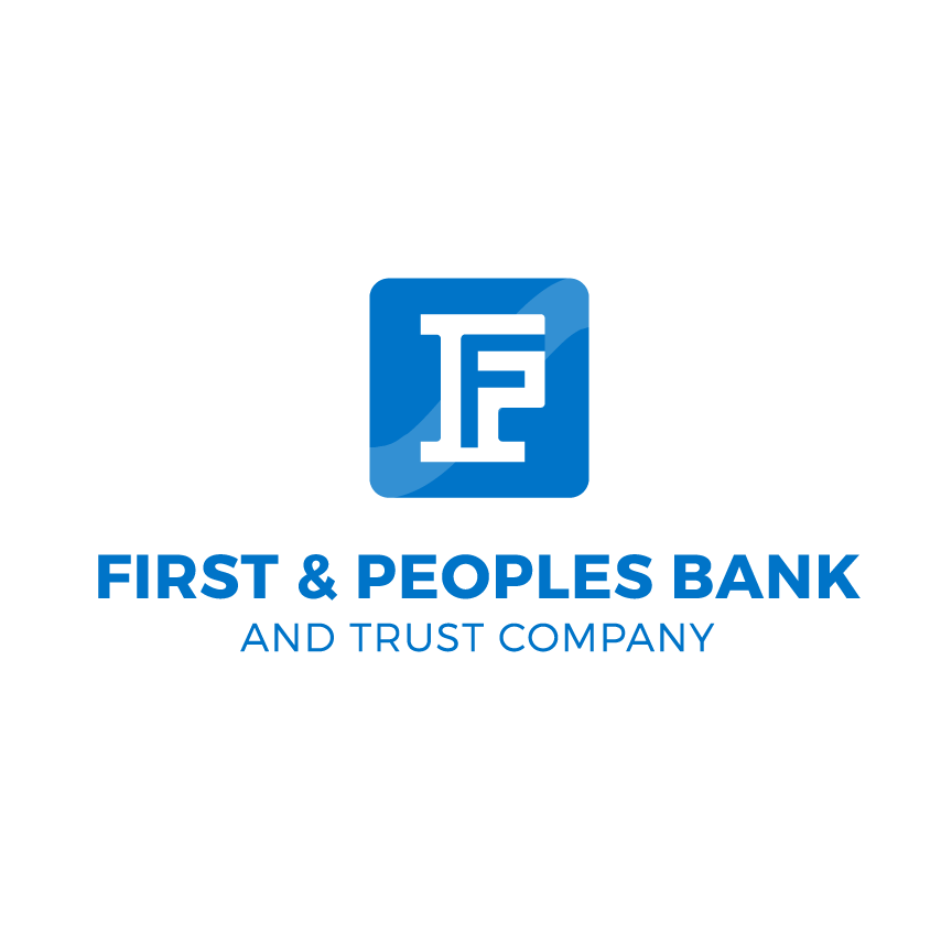 First and People bank and Trust Company Logo located in Ashland, KY. Professional logo for bank. F icon that mimics a credit card and pillar.