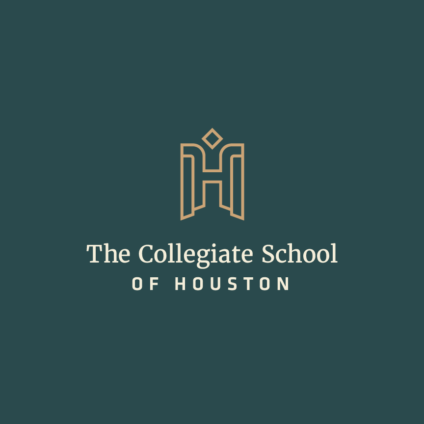The Collegiate School of Houston Logo Design. H mark that is mosaic and symbolizes a phoenix.