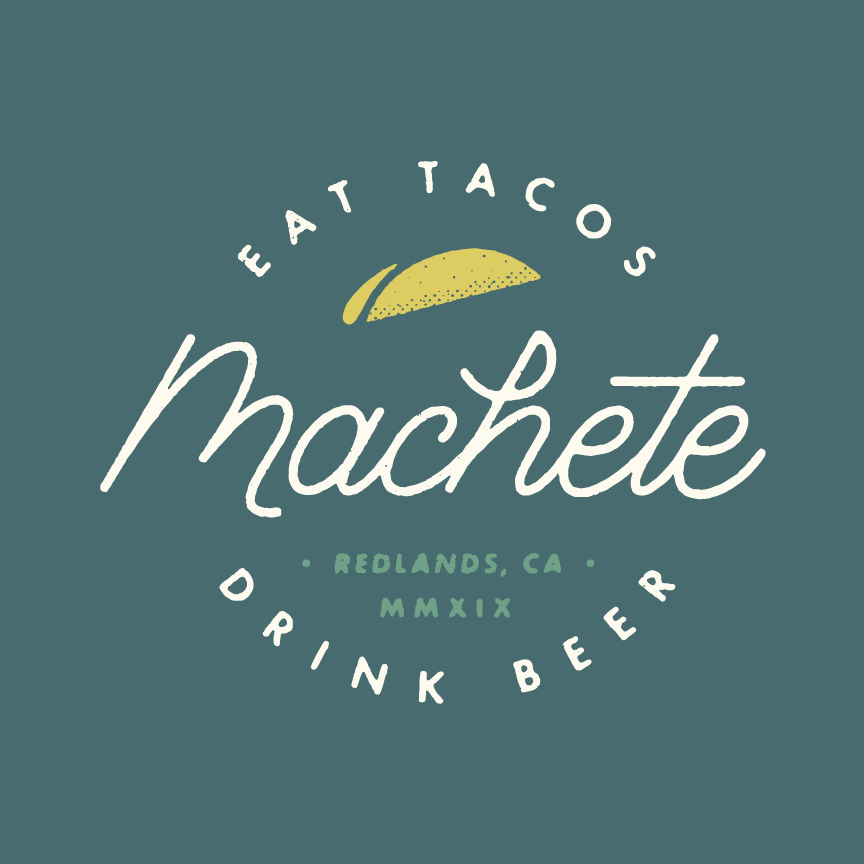 Designer: Katie Cooper Web Design, Brand Identity, Branding, Custom Typography Machete Mexican Restaurant  in Redland California Craft Beer