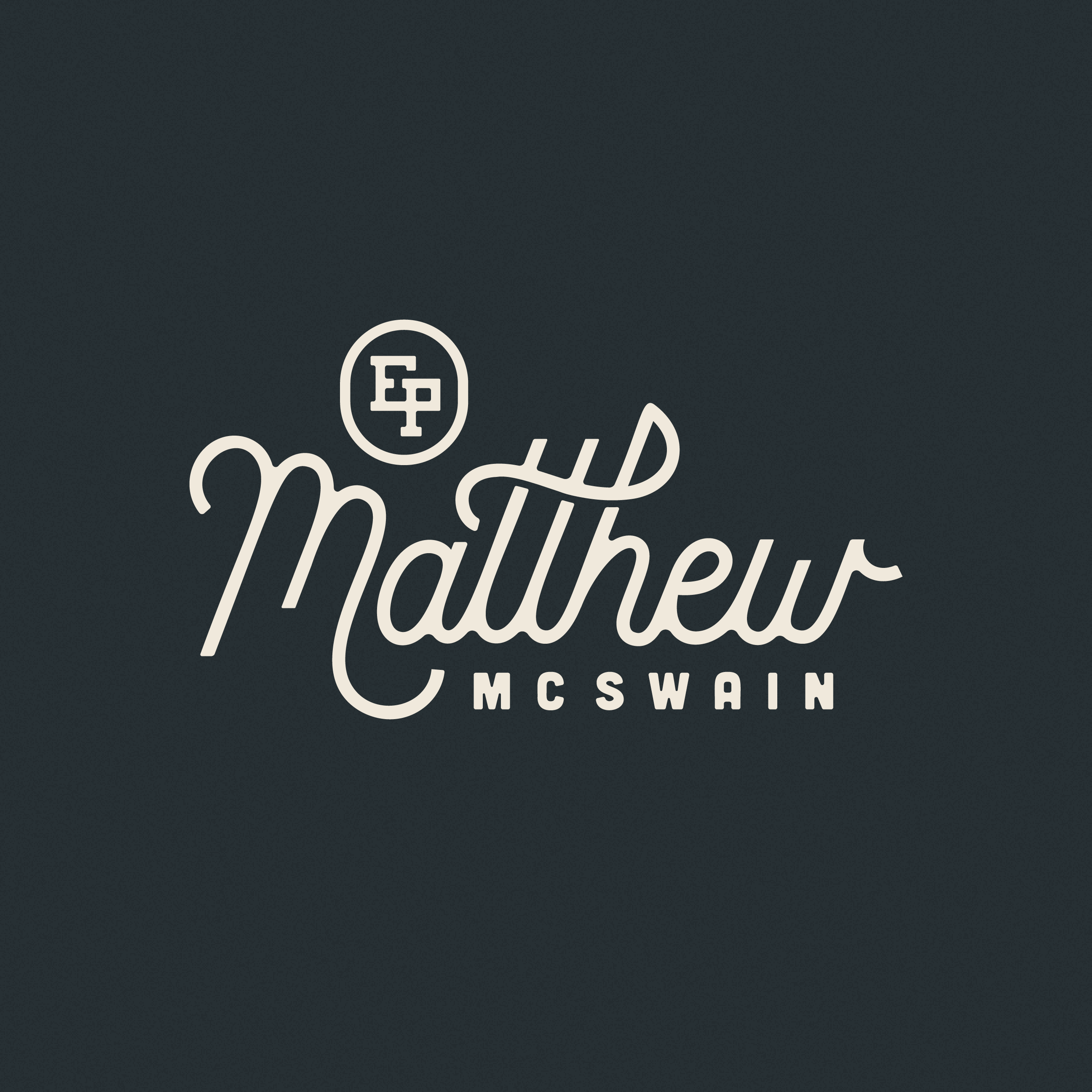 Custom Script Logo for Matthew McSwain Musician EP Album Release Logo Branding Logo Design Designer: Katie Cooper