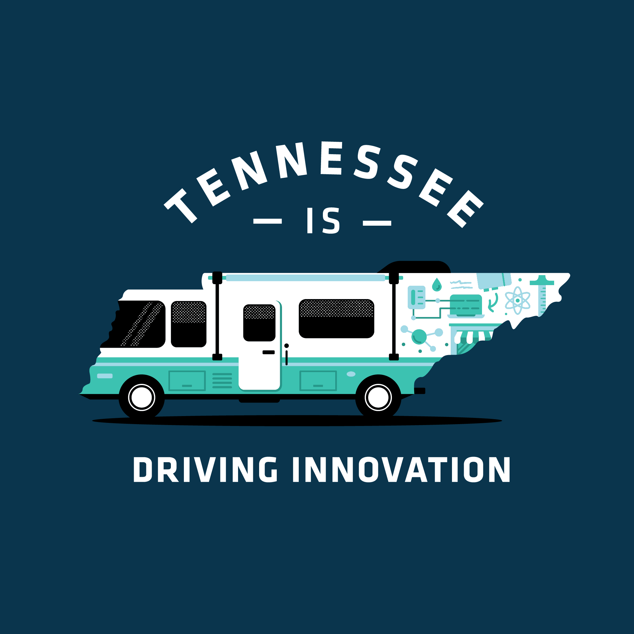 "Illustration of the state of Tennessee turned into an RV with science/STEM icons with text that reads ""Tennessee is Driving Innovation"""