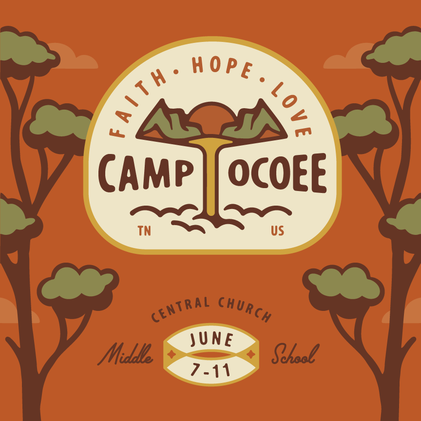 "Poster Illustration that is very outdoorsy. Trees along the sides with badge logo with mountains, waterfall, and sunset that reads ""Camp Ocoee"" Designer: Katie Cooper"