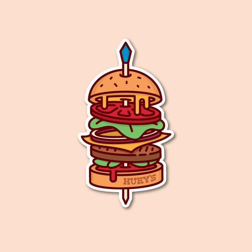 "Illustration of a Hamburger with a toothpick through it with text that reads ""Huey's"" Designer: Katie Cooper"