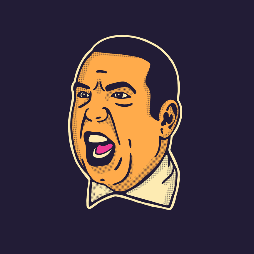 Illustration of Louis Litt from tv show Suits yelling. Designer: Katie Cooper