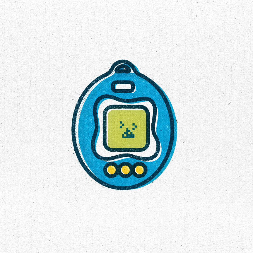 Illustration of a 90s Tamagotchi with poop on the screen. Designer: Katie Cooper