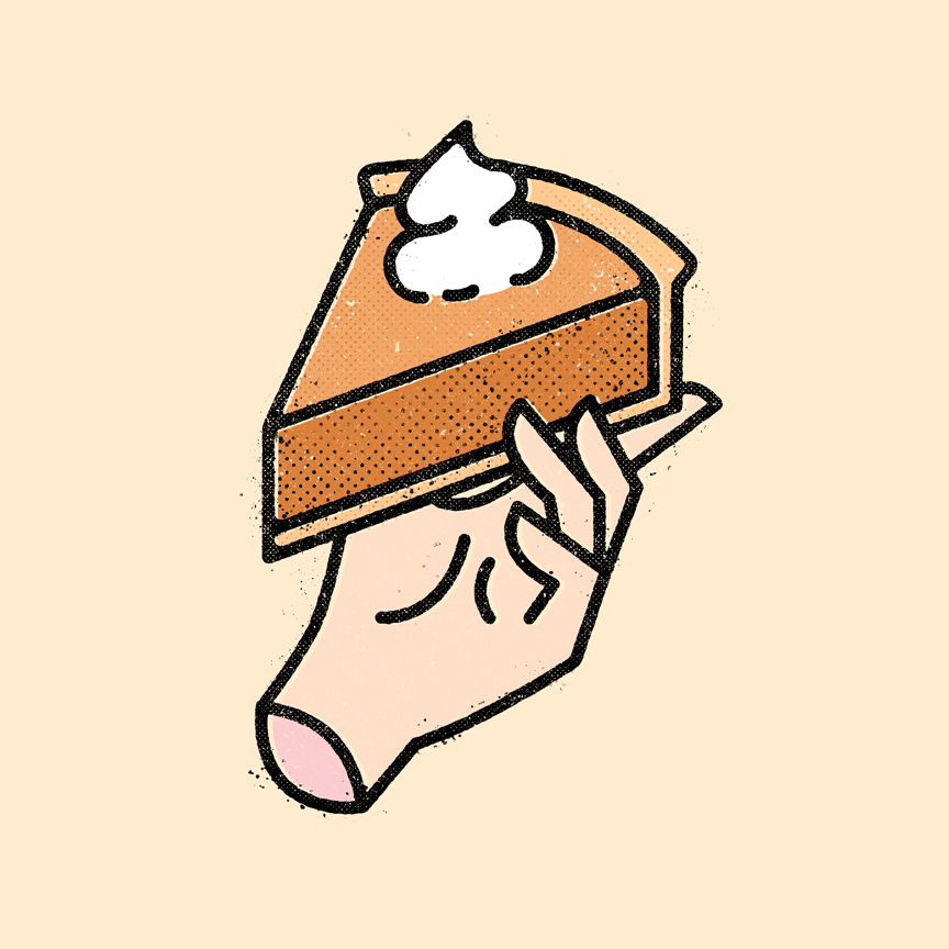 Illustration of floating hand holding pumpkin pie with whipped cream. Designer: Katie Cooper