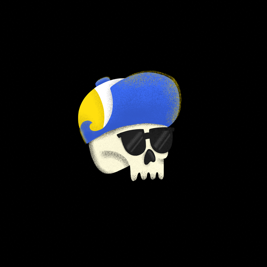 Illustration of a cool skull wearing sunglass and hat. Designer: Katie Cooper