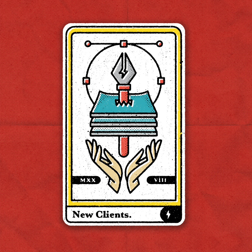 "Tarot card with a designer theme. Open hands with floating pen tool through a stack of papers. Caption ""new clients."" Designer: Katie Cooper"