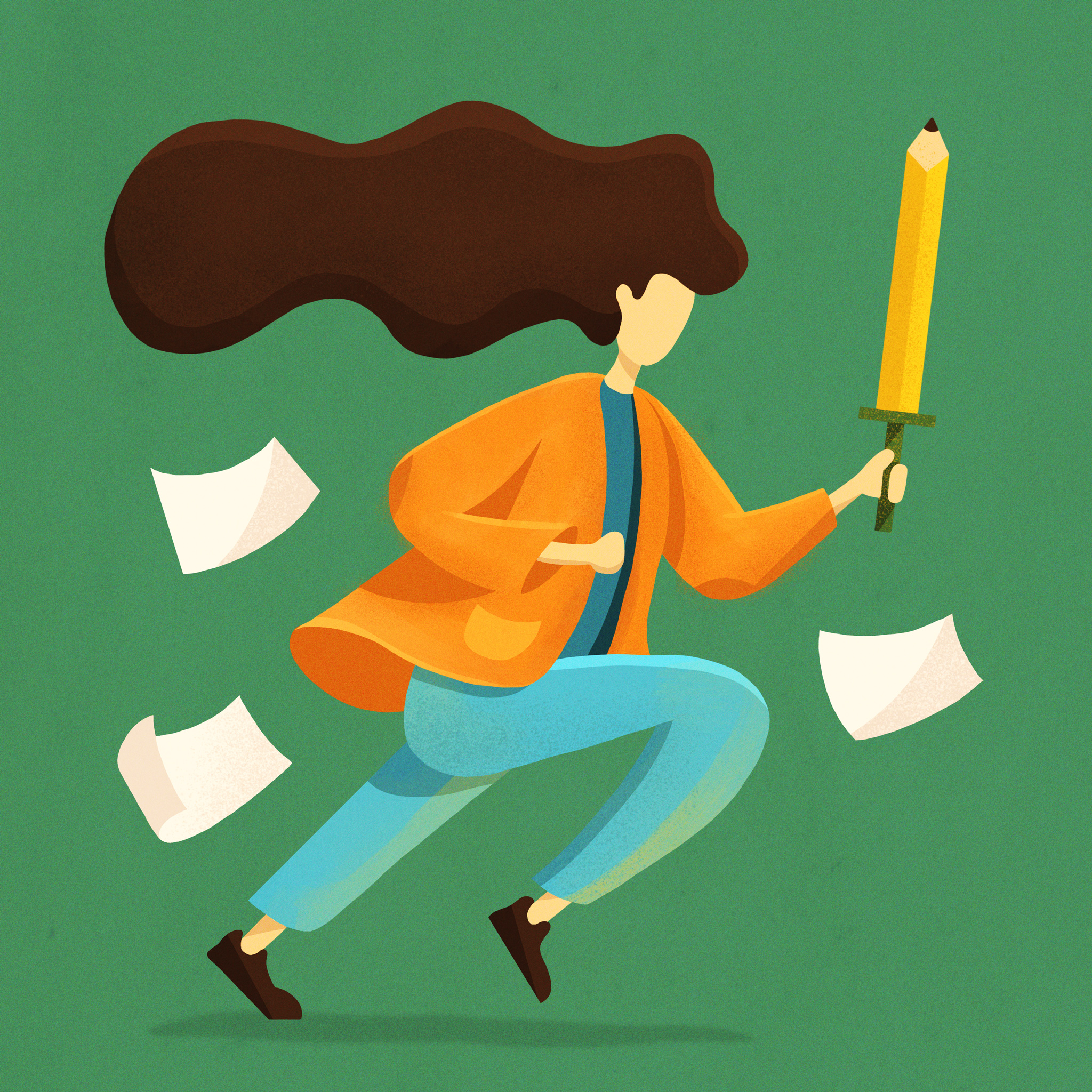Character illustration of girl with long hair holding a pencil sword with paper flying around. Designer: Katie Cooper