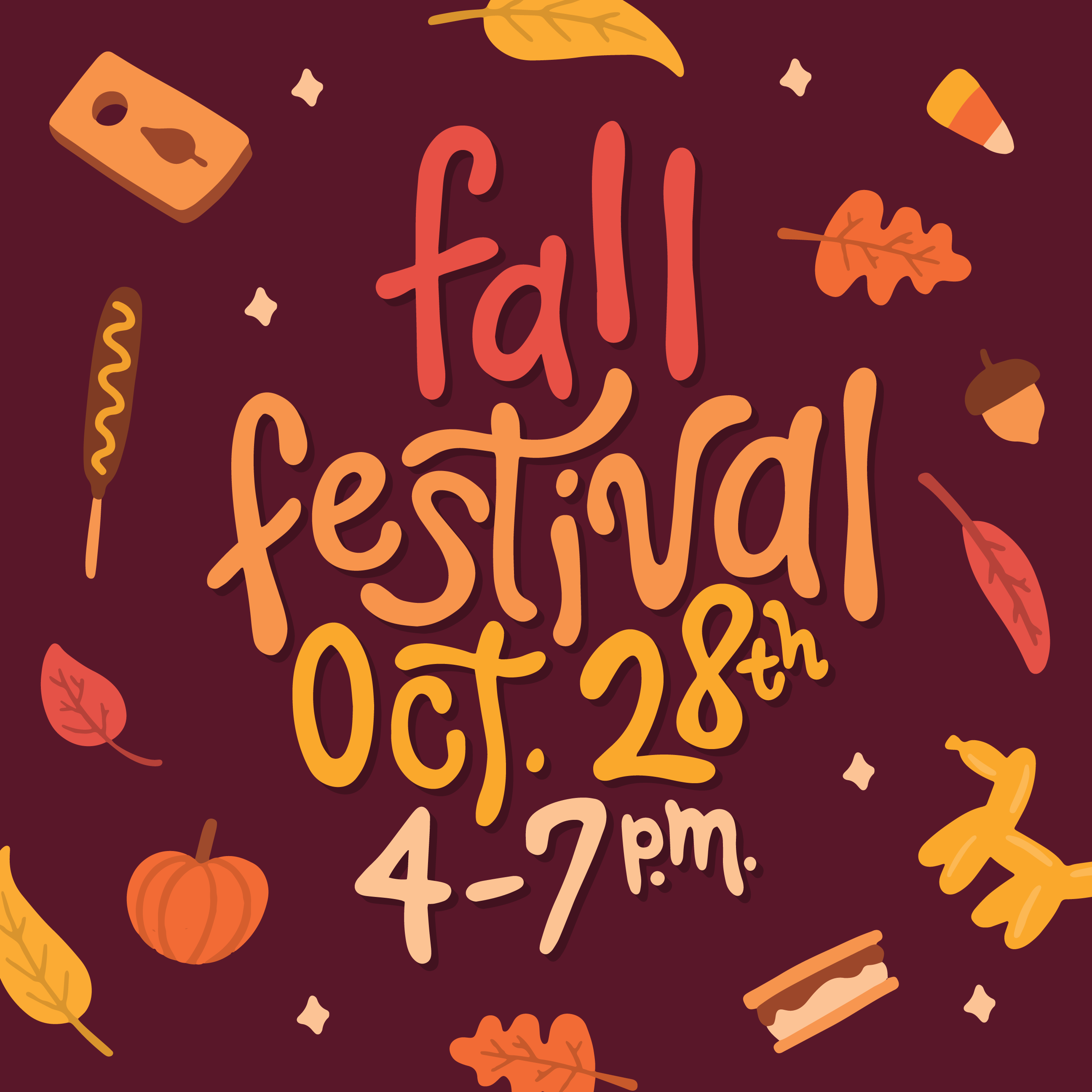 "Funky hand lettering that reads ""Fall festival"" with fall icons surrounding the border. cornhole, pumpkin, leaves, smores, balloon animal Designer: Katie Cooper"